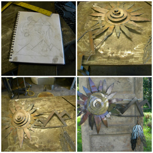 collage native american sun